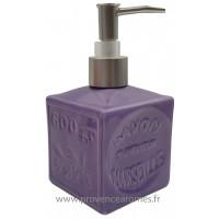 Pousse distributeur de Savon liquide en forme de cube Savon de Marseille couleur Lavande