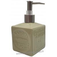 Pousse distributeur de Savon liquide en forme de cube Savon de Marseille couleur Vert Amande