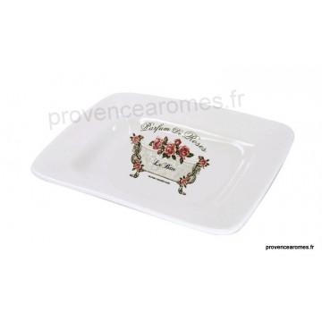 Porte savon céramique rectangle déco PARFUM DE ROSES