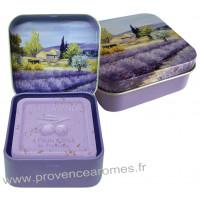 Boîte et savon 100 g Lavande déco Paysage Provençale Esprit Provence