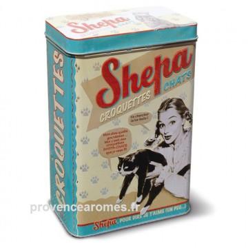 Boîte métal à croquettes pour chat SHEPA Natives déco rétro vintage