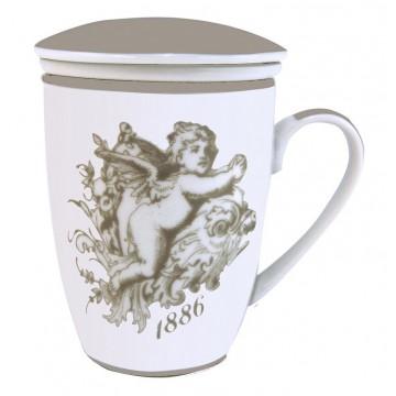 Mug avec passoire et couvercle décor Ange