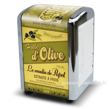 "Distributeur de serviettes "" Huile d'olive Le Moulin de Papet "" Natives"