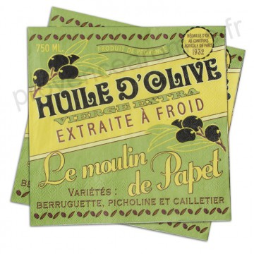 """Serviettes papier """" Huile d'olive Le Moulin de Papet """" Natives déco rétro vintage"""