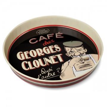 Plateau rond GEORGES CLOUNET Natives déco rétro vintage humoristique