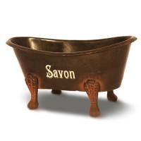 """Porte savon baignoire ancienne en fer marron """" Savon"""""""