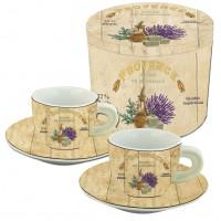 Coffret de 2 tasses à café décor Provence