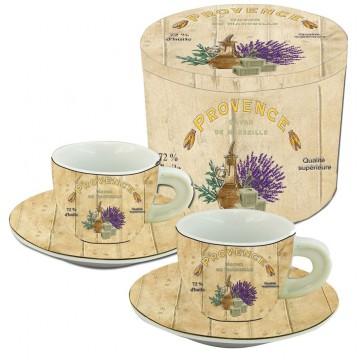 Coffret de 2 tasses à café décor PROVENCE SAVON DE MARSEILLE
