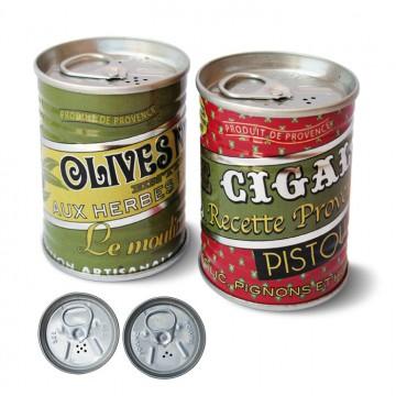 """Salière et Poivrière mini conserve Provençale """"Olive et Pistou """" natives"""