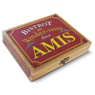 """Coffret accessoires Vin """" Bistrot au Rendez-vous des Amis """" déco rétro vintage Natives"""