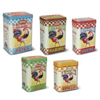 """Set de 5 Boîtes alimentaires """" Bistrot Le Coq en Pâte """" Natives"""