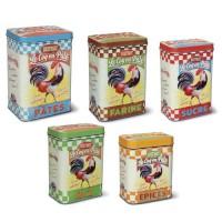 """Set de 5 Boîtes """" Bistrot Le Coq en Pâte """" Natives déco rétro et vintage"""