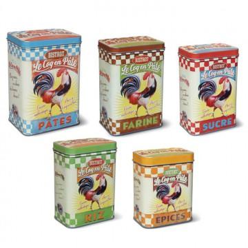 """Set de 5 Boîtes alimentaires """" Bistrot Le Coq en Pâte """" Natives déco rétro et vintage"""