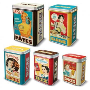 """Set de 5 Boîtes alimentaires """" Housewives """" Natives déco rétro et vintage"""