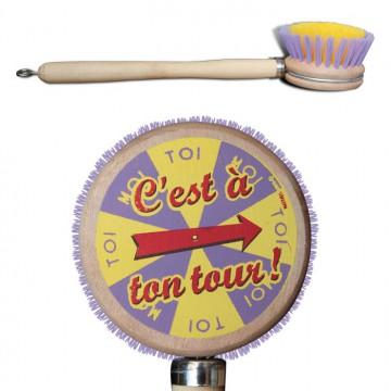 """Brosse vaisselle """" C'est à ton tour """" Natives déco rétro vintage"""