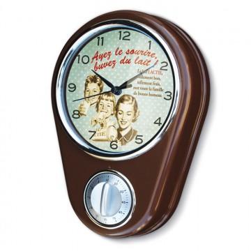 """Horloge/ minuteur """" Buvez du Lait """" déco rétro vintage Natives"""