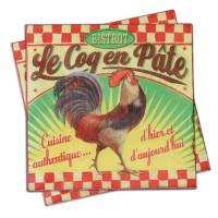 """Serviettes papier déco """" Bistrot Le Coq en Pâte"""" Natives"""