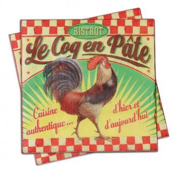 """Serviettes en papier déco """" Coq en Pâte"""" Natives déco rétro vintage"""