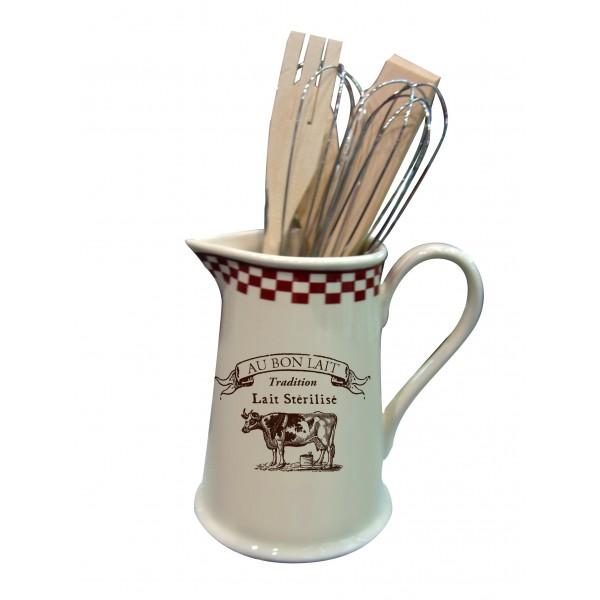 Pichet porte ustensiles au bon lait d co campagne et for Ustensiles de cuisine retro