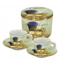 Coffret de 2 tasses à café décor Lavande Romarin
