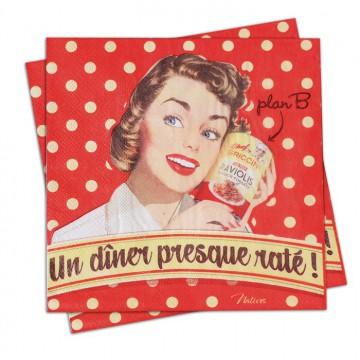 """Serviettes papier """" Un Diner presque raté """" Natives déco rétro vintage"""