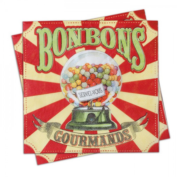 Serviettes en papier bonbons gourmands natives d co for Deco serviette de table en papier