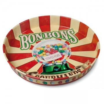 "Plateau métal rond "" Bonbons gourmands "" Natives"