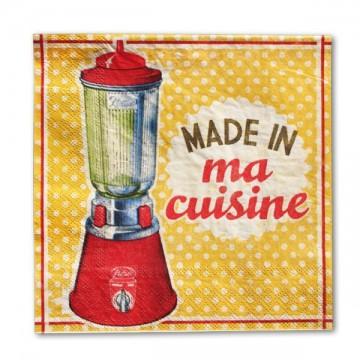 """Serviettes en papier """" Made in ma cuisine """" Natives déco rétro vintage"""