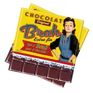 """Serviettes en papier """" Chocolat Brah """" Natives déco rétro vintage"""