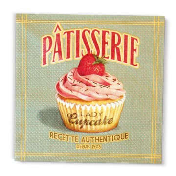 Serviette papier déco LADY CUPCAKE Natives rétro vintage