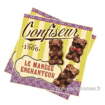 """Serviettes papier """" Confiseur nounours """" déco rétro vintage Natives"""
