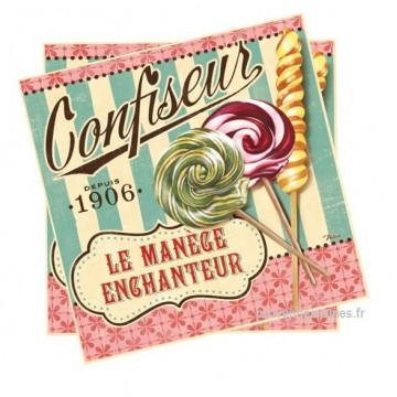 """Serviettes papier """" Confiseur sucettes """" """" Le Manège Enchanteur """" natives déco rétro"""