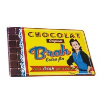 """Plateau Rond en métal """" Chocolat Brah """" Natives déco"""