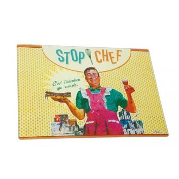 """Planche à découper en verre trempé """" Stop Chef """" Native déco"""