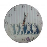 """Mini horloge magnétique déco rétro """" chatons """""""