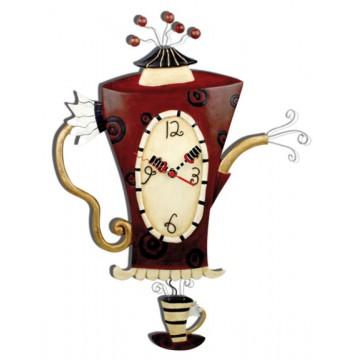 """Horloge """" Cafetière """" à balancier déco rétro vintage designs"""