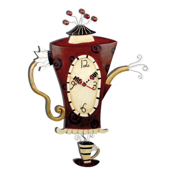 Horloge cafeti re balancier d co r tro vintage - Horloge murale sans bruit ...
