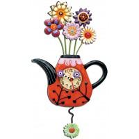"""Horloge """" Théiere fleurs """" à balancier déco rétro vintage designs"""