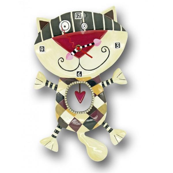Horloge chat coeur balancier d co vintage designs - Horloge murale sans bruit ...