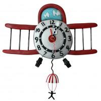 """Horloge """" Avion Biplan """" à balancier déco rétro vintage designs"""