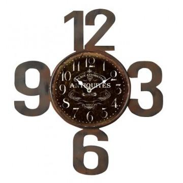 Horloge Antiques métal chiffres découpés déco rétro collection