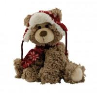 Peluche ours brun avec bonnet et écharpe