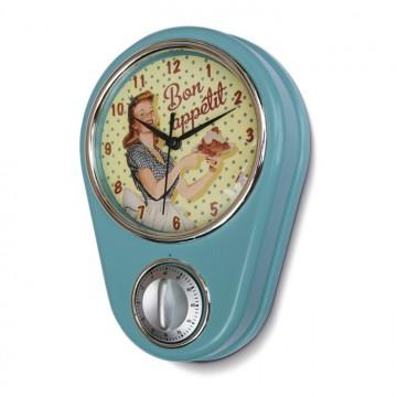 """Horloge/ Minuteur """" Miss Fifties """" déco rétro vintage Natives"""