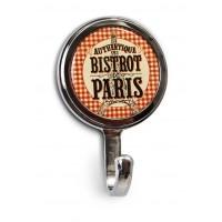 """Mini-Patère magnet ou vis """" Bistrot de Paris """" Natives déco rétro vintage"""