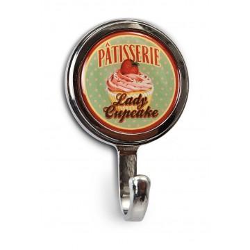 """Mini-Patère magnet ou vis """" Lady Cupcake """" Natives déco rétro vintage"""