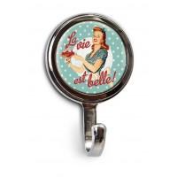 """Mini-Patère magnet ou vis """" Miss Fifties """" Natives déco rétro vintage"""