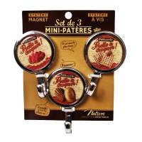 """3 Mini-Patères magnet ou vis """" Belle à croquer """" Natives déco rétro vintage"""