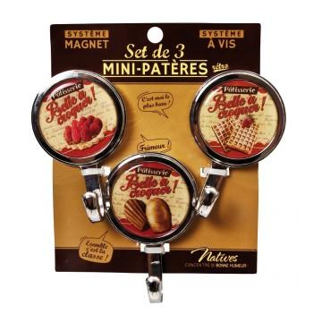3 Mini-Patères magnet Belle à croquer Natives déco rétro vintage
