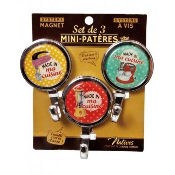 """3 Mini-Patères magnet ou vis """" Made in ma cuisine """" Natives déco rétro vintage"""