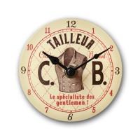 """Mini Horloge émaillée """" Tailleur """" Natives déco pub rétro vintage"""